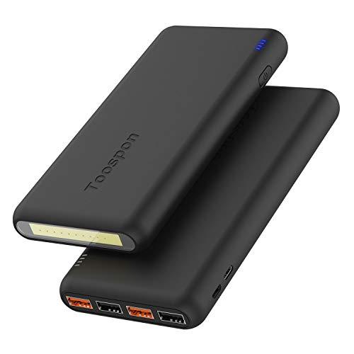 4xUSB_30000mAh Power Bank/Super Bright LED FlashLight/ Hard Bag Portable Charger Quick-Charge Cell Phone Tablet Camera DV Bluetooth Speaker etc.(Black)