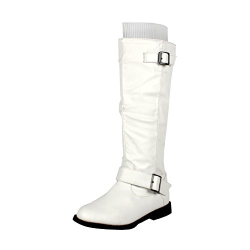 White Knee Boots (West Blvd Osakav2.0 Riding Boots, White Pu, 8.5)