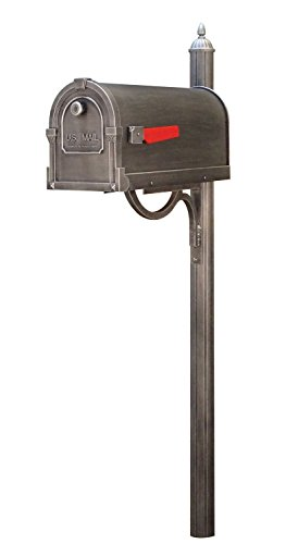 Special Lite Savannah Curbside Mailbox with Richland Mailbox Post - Swedish Silver