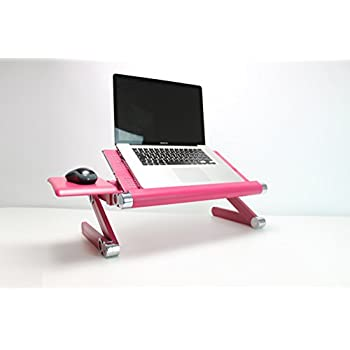 Portable Folding Notebook or Laptop Table - Desk - Tray - Stand (Raspberry Pink) with free mouse stand