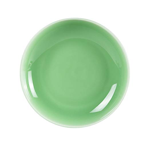 Plates Dinnerware 4PCS Celadon Dish for Salad Microwave and Dishware Safe(7.5 Inch, Green) (Plate Porcelain Celadon)