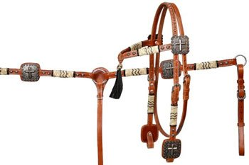 Rawhide Futurity - Futurity Rawhide Cross Conchos Headstall Bridle Reins Breast Collar Set