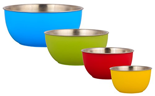 Stainless Steel Mixing Bowls, Kitchen Dezire LiefDe Plastic Coated High Quality Stainless Steel Mixing Bowls, 4 Piece Set with Plastic Lids