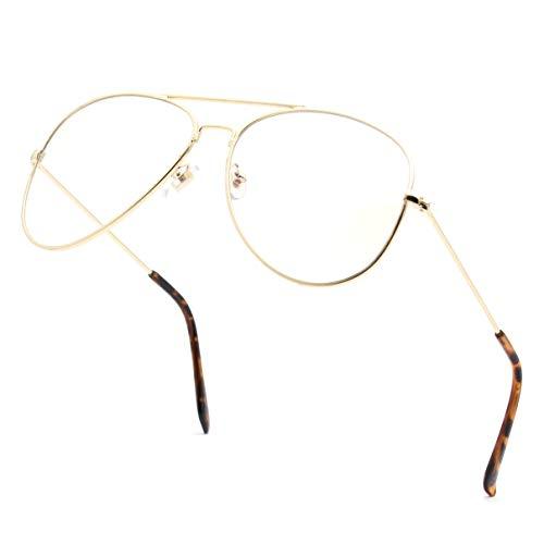 (ENSARJOE Anti Blue Ray Glasses UV400 Classic Aviator Eyewear Frame Blue Light Blocking Computer Game Working)