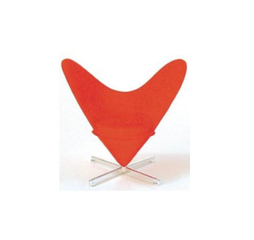 Mid Century Modern Design Miniature 1/12 Heart-shaped Cone Chair-red