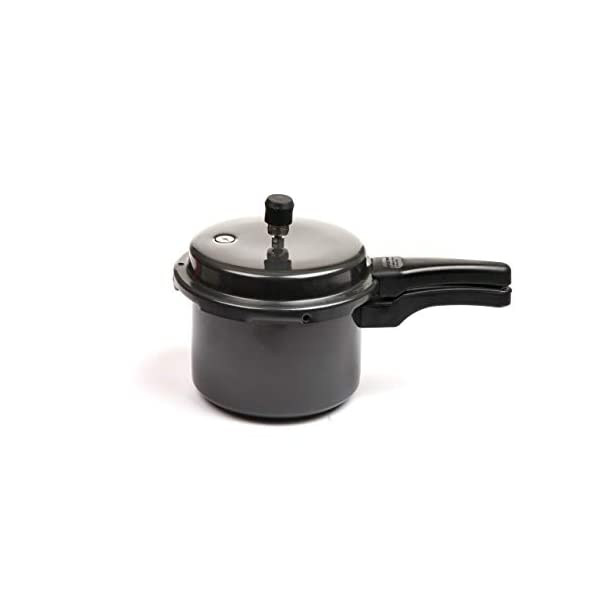 Pioneer Outer Lid Glossy Black Hard Anodised Low Flame  Fuel Saver Pressure Cooker Round Shape 3 Litre (Non- Induction…
