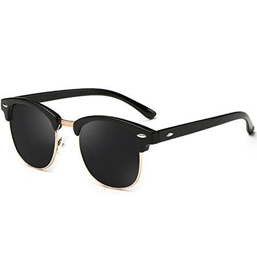 Joopin Semi Rimless Polarized Sunglasses Women Men Retro Brand Sun Glasses (Brilliat Black Frame, Simple packaging)