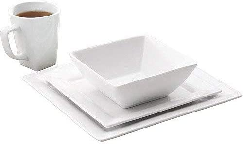 Better Homes /& Gardens 16 Piece Square Porcelain Dinnerware Set White