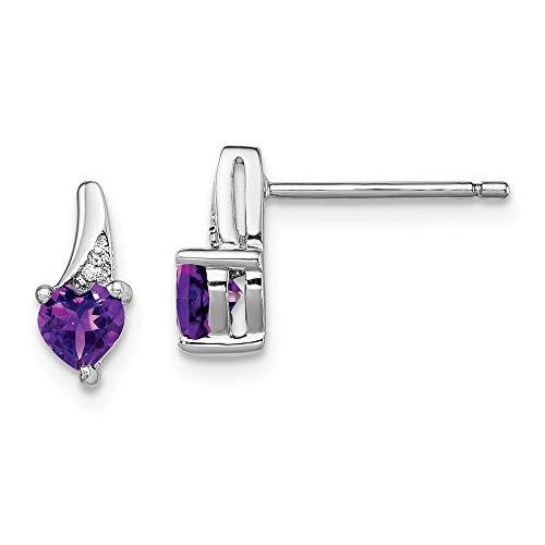 Mia Diamonds 925 Sterling Silver (.007cttw) Heart Shape Amethyst Diamond Earrings (10mm x 4mm)