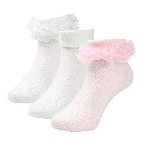 Kids Girls Princess Frilly Lace Dress Ruffle Socks Pack of 3 (Pink White White, M: Shoe Size 10-13) ()