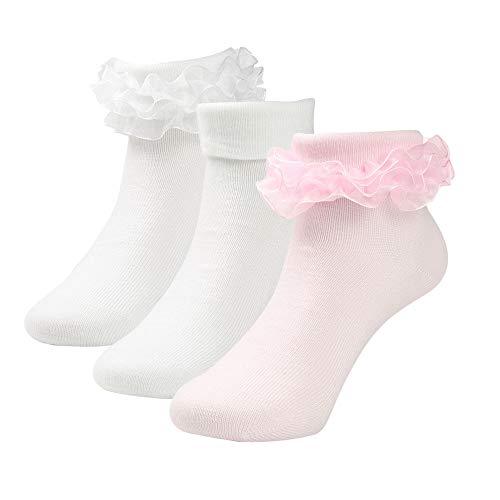 (Kids Girls Princess Frilly Lace Dress Ruffle Socks Pack of 3 (Pink White White, S: Shoe Size)