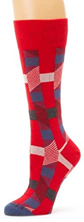 BOSS HUGO BOSS Men's Abstract Mid Calf Geometric Pattern Dress Sock, Red, One Size