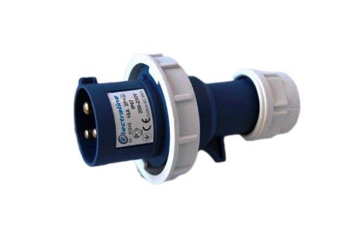 2 opinioni per Electraline 80849 Spina Elettrica Industriale, IEC, 16A, 2P+T, 220V, IP67, Blu
