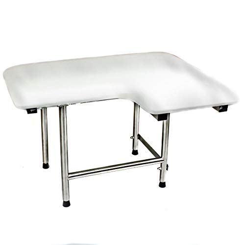 CSI Bathware SEA-SD2821-LH-PA ADA Bathroom Shower Bath Seat, Folding, Wall-Mounted, Left Hand, Padded Seat, 28-Inch by 21-Inch ()