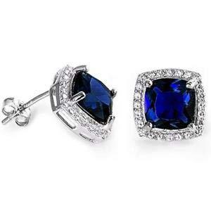 (Cushion Cut Blue Sapphire & Cubic Zirconia 925 Sterling Silver Earrings - Jewelry Accessories Key Chain Bracelet Necklace Pendants)