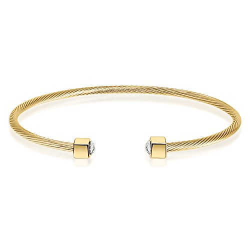 Cubic Zirconia Stackable Bangle - I'S ISAACSONG 14k Gold Plated Expandable Twisted Cable Wire Cubic Zirconia Charm Thin Cuff Bangle Bracelet for Women and Men (14k Yellow Gold)