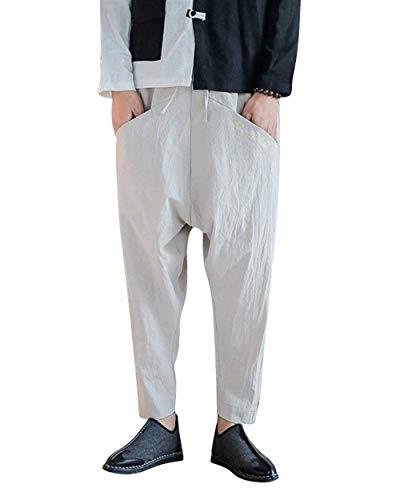 Solide Couleur Pantalons Casual Harem Occasionnels Entrejambe Hommes Taille Élastique Été Aprikose Lâche qxUHff
