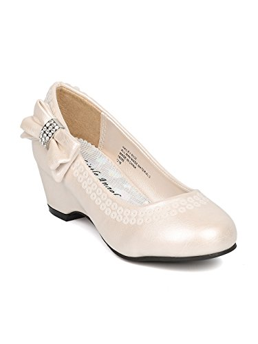 Girls Leatherette Sequinned Bow Tie Kiddie Wedge Pump HJ52 - Ivory Leatherette (Size: Big Kid 4) by Little Angel