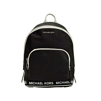 c572e3e07 Image Unavailable. Image not available for. Color: Michael Kors Connie Black  Optic White Nylon Medium Sport Logo Backpack