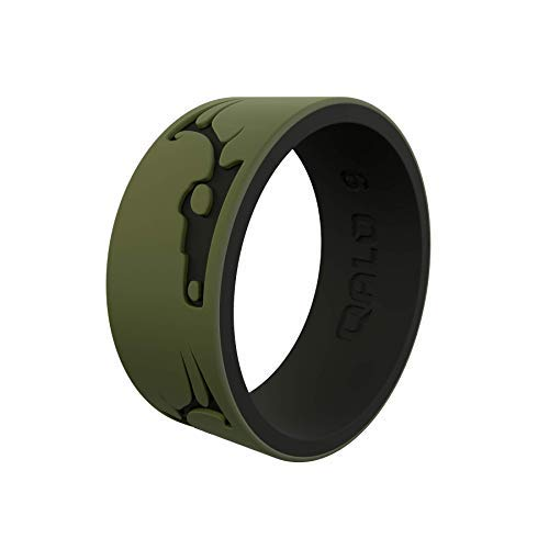 QALO Men's Strata Whitetail Silicone Ring, Two Tone and Dual Layered - Olive and Black, Size 08