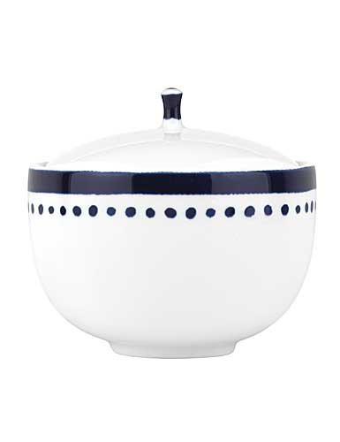 Kate Spade New York Charlotte Street White and Blue Porcelain Sugar Bowl with Lid, 4.3''