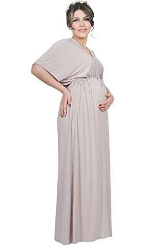 (KOH KOH Petite Womens Long Maternity Comfortable Kimono Sleeve V-Neck Casual Summer Flowy Party Pregnancy Pregnant Baby Shower Cute Gown Gowns Maxi Dress Dresses, Tan Light Brown S 4-6 (1))