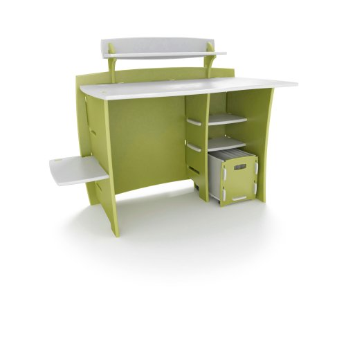 Legare 43-Inch Kids' Desk with File Cart, Green and White