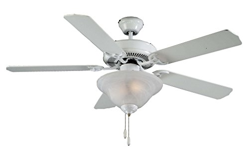 - Royal Pacific Lighting 1057WW Traditional Royal Star 5 Blade Ceiling Fan with Frost Swirl Glass Bowl Light Kit, 52