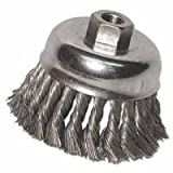Knot Wire Cup Brush, 3 in Dia., 5/8-11 Arbor, .014 in Carbon Steel, Retail Pk (20 Pack)