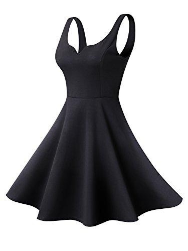 Missufe Women's Sleeveless Sweetheart Flared Mini Dress (Large, 02-Black) ()