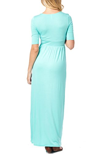 Elastic In Dress 82 Casual Mint 3 Days USA Waist Long 4 Sleeve with Women's Made Maxi OqOSx8avw