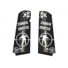 Zombie Hunter Engraved Alumagrips Full Size Smooth 1911 Grips (1911 Zombie Grips)