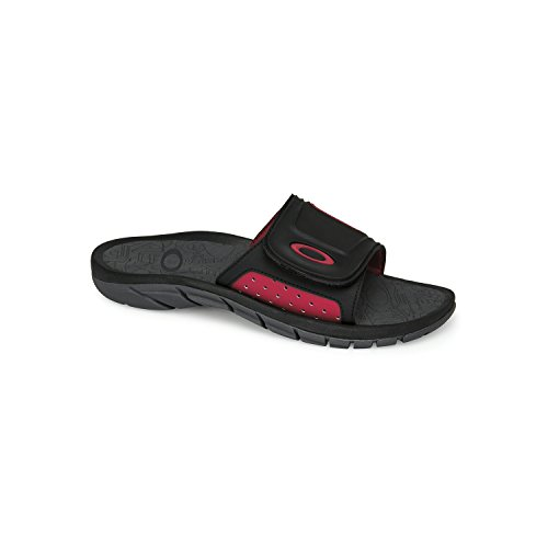 Oakley Mens 10132 Supercoil Slide Sandal, Black/Red - - Womens Shoes Oakley