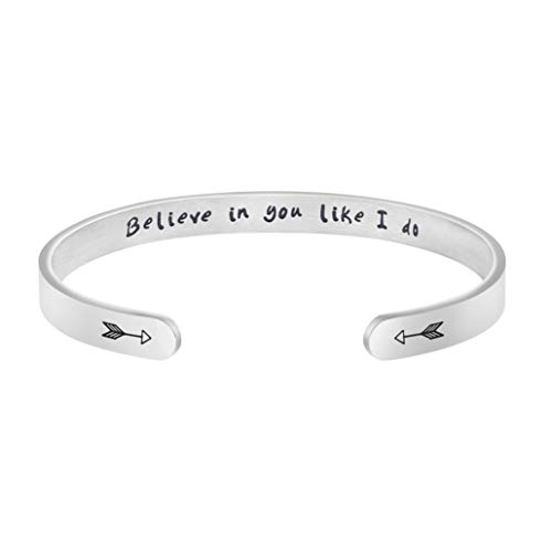 Joycuff Bangle Bracelets for Women Birthday Gifts for Her Silver Cuff Bangle Personalized Mantra Inspirational Daily Reminder (Believe in You Like I do) ()