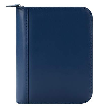 Compact FC Basics Leather Zipper Binder - Blue