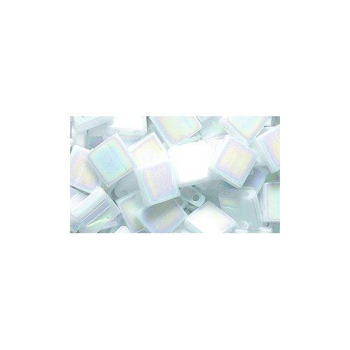 - Shipwreck Beads Miyuki Tila Square Two Hole Bead, 5mm, White Pearl Aurora Borealis Finish