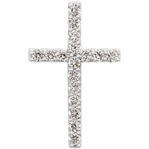 14K Pendentif Croix Diamant Petite 1/6Blanc