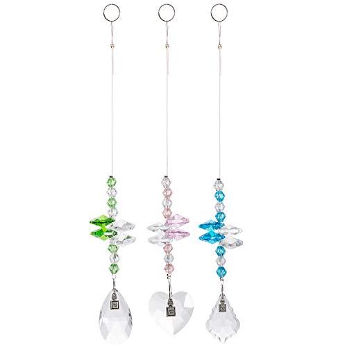 Chandelier Octogon Suncatchers Glass Prisms Pendants Teardrop,Heart Shaped Prisms for Wedding,Plants,Cars,Plant,Window Decor(3 of Pack)
