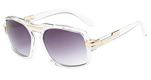 4cb3948a6e Gobiger Classic Square Frame Plastic Flat Top Aviator Sunglasses for Men  with Metal Trimming (Transparent Frame