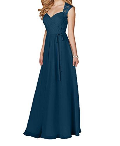 mit Dunkel mia Ballkleider Elegant Festlichkleider Einfach Spitze A Abendkleider Promkleider Bodenlang Rock Linie La Weiss Blau Braut AOFHxAZn