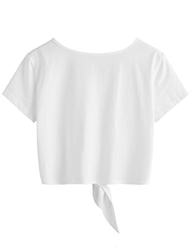 SweatyRocks Women's Loose Short Sleeve Summer Crop T-shirt Tops Blouse White#5 S by SweatyRocks (Image #1)