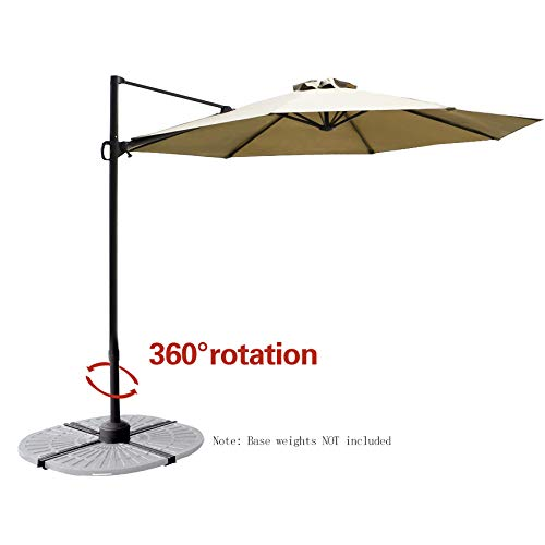 C-Hopetree 10' Hanging Offset Cantilever Umbrella Market Style with Tilt for Outdoor Patio Table Outside Sun Deck Large Poolside Shade, Beige ()