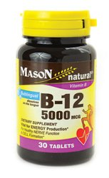 Tablets Mcg 5000 Sublingual (Mason Natural B-12 5000 Mcg Sublingual Tablets 30 Per Bottle)