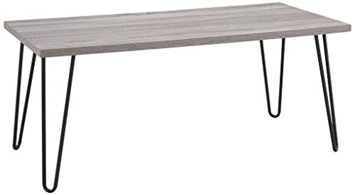 Ameriwood Home  Owen Retro Coffee Table with Metal Legs, Sonoma Oak Gunmetal Gray