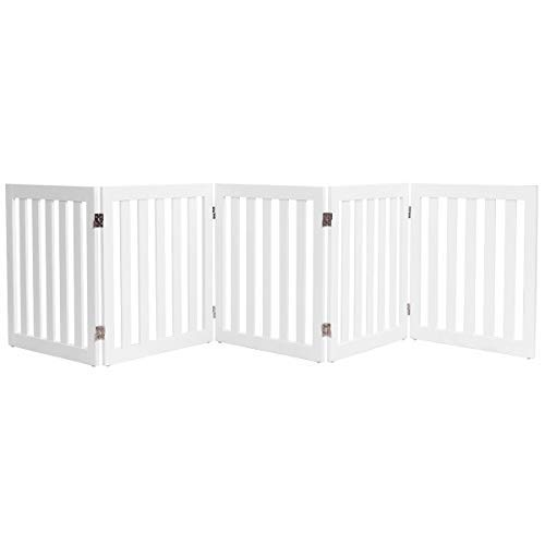 Giantex 24 Wooden Doge Gate, Configurable Freestanding Pet Gate for Small to Medium Sized Pets, Step Over Fence, Foldable Panels for House Doorway Stairs Extra Wide Pet Safety Fence 100 W, White