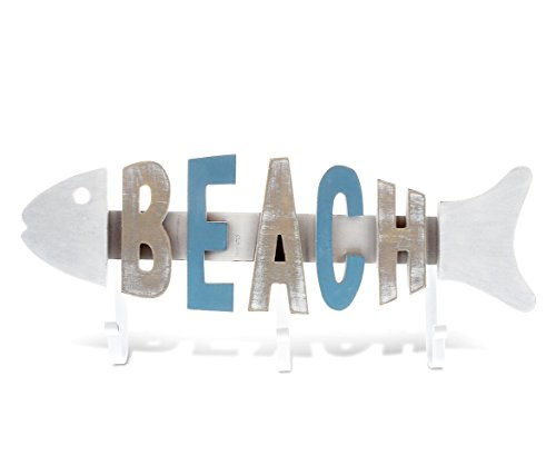 (CoTa Global Aqua Sky Fish Beach 3 Hook Wood Wall Hanger, 16.7