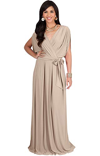 KOH KOH Petite Womens Long Formal Short Sleeve Cocktail Flowy V-Neck Casual Bridesmaid Wedding Party Guest Evening Cute Maternity Work Gown Gowns Maxi Dress Dresses, Tan Light Brown S 4-6