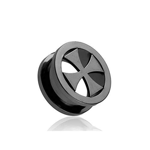Covet Jewelry Black PVD Iron-Cross Screw Fit Tunnel Plug (9/16 (14mm))