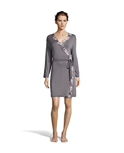 Kathy Ireland Women's Floral Print Nightgown and Robe Pajama Set Charcoal Large (Print Nightgown)