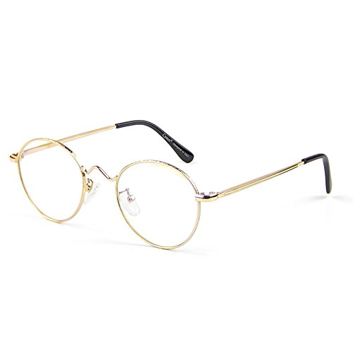 Cyxus Vintage Retro Blue Light Filter Glasses Round Anti Eyestrain Redness Metal Frame (8702T06,Gold ()